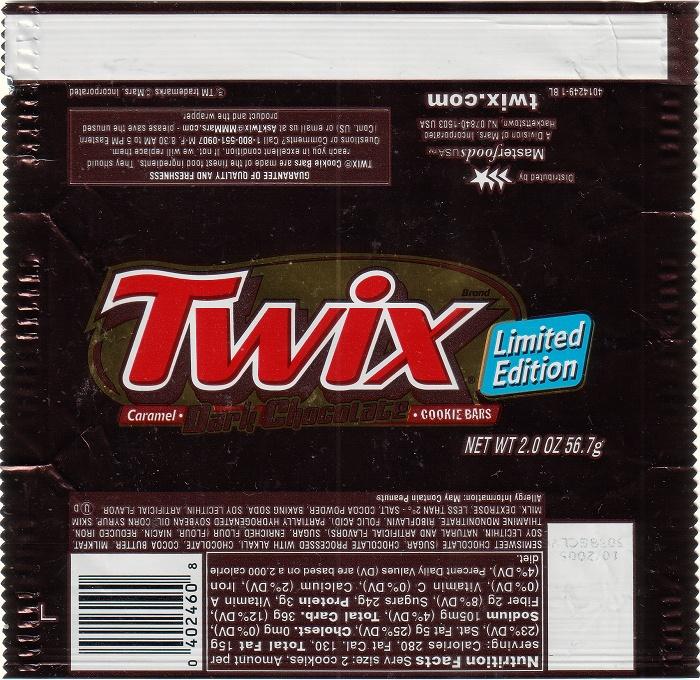 2005 Twix Dark Candy Wrapper Archive